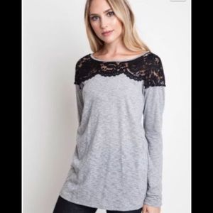 Umgee Long Sleeve Shirt With Lace Detail